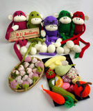 Family, stuffed animal, new year, monkey, funny. Family of stuffed animal sit at new year party, group of knitted monkey in colorful yarn, symbol of 2016, funny royalty free stock images