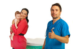 Family and successful pediatrician Stock Images