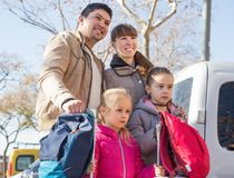 Family with suitcases in journey Royalty Free Stock Photos