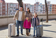 Family with suitcases in journey Royalty Free Stock Image