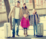 Family with suitcases in journey Stock Photos