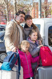 Family with suitcases in journey Royalty Free Stock Images