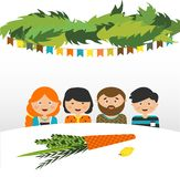 Family in the sukkah . sukkot Jewish holiday Stock Images