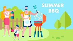 Family Summer Barbeque Party Flat Banner Template. Father, Mother, Son Enjoying Weekend Meal. Cartoon Husband Grilling Sausages. Woman, Wife Offering Drinks vector illustration