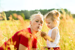 Family summer - blowing dandelion seeds Stock Image
