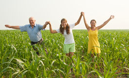 Family on summer countryside. freedom concept Stock Image