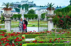 Family in summer garden (Salzburg, Austria) Royalty Free Stock Photo