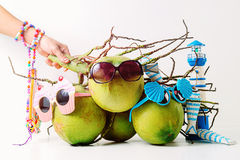 Family Summer and holiday symbolic concept.group of coconuts wit Royalty Free Stock Images