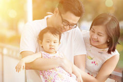 Family in summer holiday vacations, sunset Stock Images