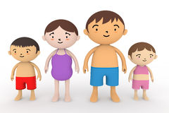 Family Summer Holidays. Families come to play in the sea. In the summer enjoy the sea. Family of four, father, mother, son, daughter play with. Illustration 3DCG Stock Photo