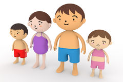 Family Summer Holidays. Families come to play in the sea. In the summer enjoy the sea. Family of four, father, mother, son, daughter play with. Illustration 3DCG Stock Image
