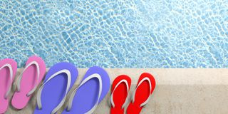 Summer family vacation. Flip flops by the pool, top view, copy space. 3d illustration vector illustration