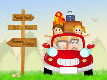 Family on summer holidays. Illustration of happy family traveling Royalty Free Stock Photography