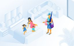 Family Summer Vacation on Resort Isometric Vector vector illustration