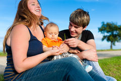 Family in summer - Mother, father and child Royalty Free Stock Photography