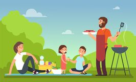 Family at summer picnic. People in bbq party eating food. Grill and barbeque outdoor vector concept. Barbecue cooking, bbq meat on nature illustration stock illustration