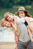 Family in summer at sea. Happy family in summer at sea taking a vacation Stock Photography