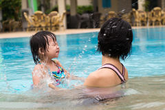 Family summer vacation. Mother and her child having fun in pool Royalty Free Stock Photos