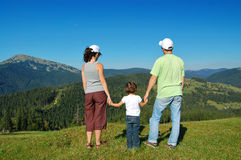 Family summer vacation in mountains Stock Photos