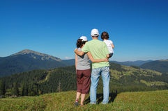 Family summer vacation in mountains. Stock Photography