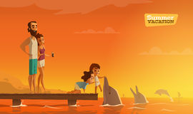 Family summer vacation. Perfect moment. EPS 10 Royalty Free Stock Images