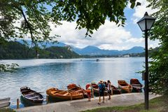 Lake Bled, Slovenia, July 13, 2017. Family vacations on boats stock photo