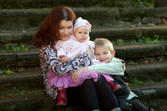 Family on summer walk Royalty Free Stock Photo