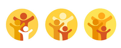 Family with sun. A pictogram with family and sun in warm colours Royalty Free Stock Photography