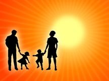 Family and sun. Mother, father and children in the sun Stock Photography