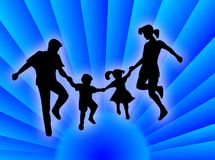 Family on the sun. Happy family silhouette jumping and dancing for happiness Stock Illustration