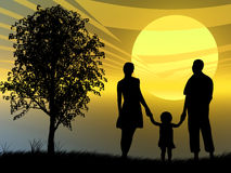 Family at sunset. Family in front of a colorful sunset Royalty Free Illustration