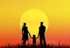 Family.Sunset felice Fotografie Stock Libere da Diritti
