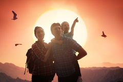 Family at sunset Stock Photography