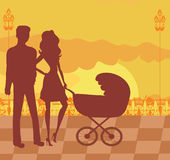 Family in sunset Stock Photography