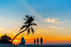 Family at sunset Royalty Free Stock Images
