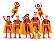 Family of superheroes, grandmother, grandfather, mother, father, children and dog in orange capes vector Illustration. Isolated on a white background stock illustration