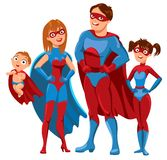 Family of superheroes. Vector illustration. White background Stock Photography