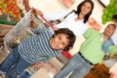 Family at the supermarket Royalty Free Stock Image
