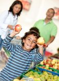Family at the supermarket Royalty Free Stock Photography