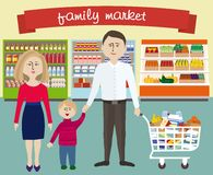 Family in supermarket Stock Photos