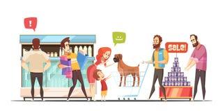 Family In Supermarket Design Concept Stock Photo