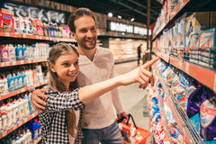 Family at the supermarket Stock Photo