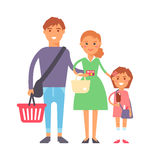 Family in supermarket portrait vector illustration. Royalty Free Stock Photography