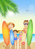 Family with surf on the beach Stock Image