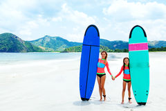 Family surfing. Mom with child are learning surfing together stock image