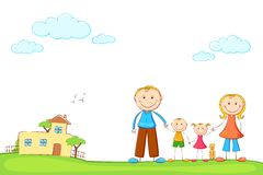 Family in Sweet Home royalty free illustration