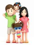 Family in swim wear. 3d render of a family in swim wear Stock Photo