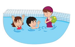 Family swimming. Cartoon illustration of a family swimming together Stock Photography
