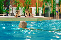 Family in swimming-pool. Happy attractive family relaxing by the pool Stock Images