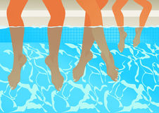 Family in the swimming pool. Vector illustration, AI file included Stock Images
